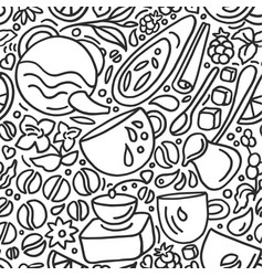 seamless pattern natural coffee and tea vector image