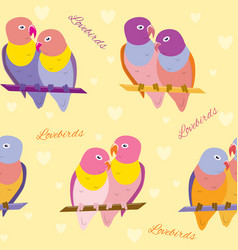 Seamless pattern with lovebirds vector