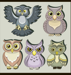 set color owls vector image