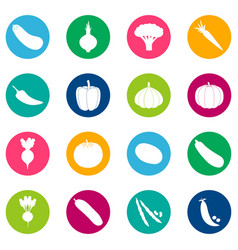Set of vegetable icons on color background vector
