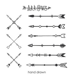 Set tribal arrowsdoodle drawing style vector