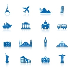 sights and transportation icon set vector image