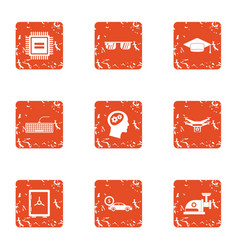 Silicon chip icons set grunge style vector