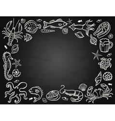 Sketch set seafood vector