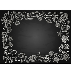 Sketch the set of seafood vector image