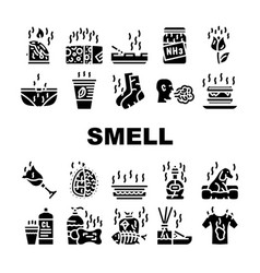 Smell feel and sense collection icons set vector