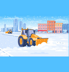 snow plough clearing from a city street vector image
