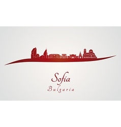Sofia skyline in red vector