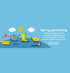 Spring gardening banner horizontal concept vector