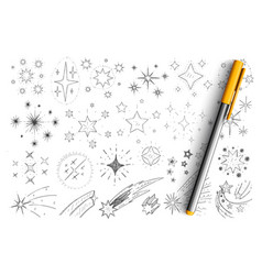 stars and comets doodle set vector image