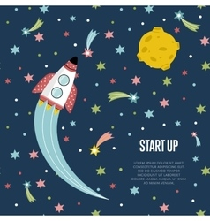 Start up Space Cartoon Web Banner vector image