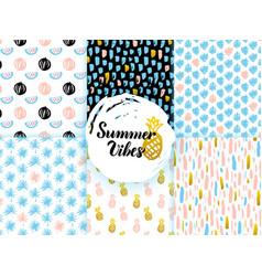 summer funky seamless patterns vector image