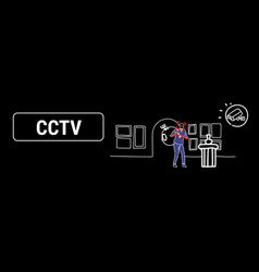 surveillance camera capturing masked thief vector image