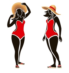 Swimsuit woman silhouettes of fat fashion girl vector image