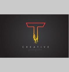 t letter design with golden outline and grunge vector image
