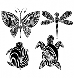 Tattoo design butterfly dragonfly vector