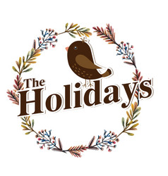 the holidays bird flower crown white background ve vector image