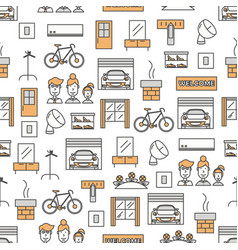 Thin line art housing seamless pattern vector