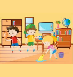 Three kids cleaning classroom vector