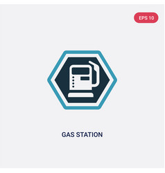two color gas station icon from signs concept vector image