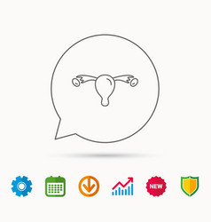 Uterus icon ovary sign vector