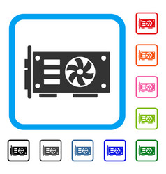 Video graphics gpu card framed icon vector