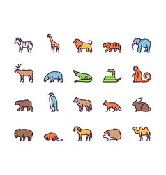 wild animals symbols color linear icon set vector image