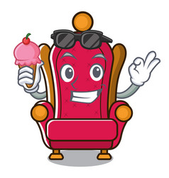 With ice cream king throne character cartoon vector