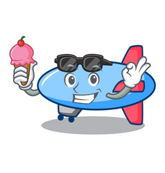 with ice cream zeppelin character cartoon style vector image