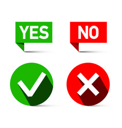 Yes and no icons isolated on white background vector