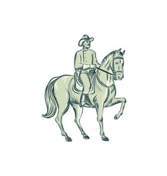 Cavalry Officer Riding Horse Etching vector image vector image