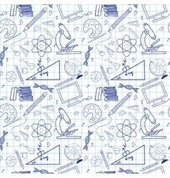 Seamless sketch of education doddle elements vector image vector image