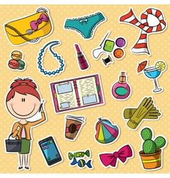 trendy girl and female things vector image