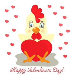 yellow rooster with red heart valentines day vector image vector image