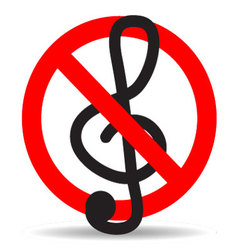 Ban music treble clef design icon flat vector image vector image