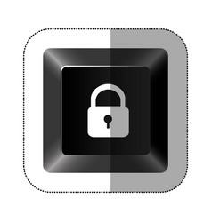 black button lock icon vector image