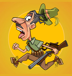 funny cartoon hunter with gun runs away in fright vector image vector image