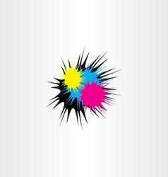 ink splash cmyk print icon vector image