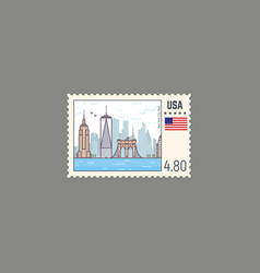 postage stamp of new york vector image