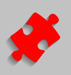 puzzle piece sign red icon with soft vector image vector image