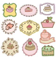 Set of Cute Cake Tags vector image vector image