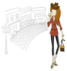 Girl in the city vector image