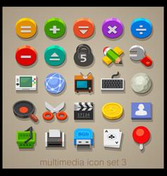 multimedia icon set-3 vector image