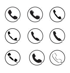 retro phone icon set call handset sign button vector image