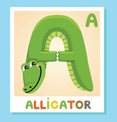 a is for alligator letter a alligator animal vector image