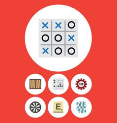 flat icon games set of arrow dice gomoku and vector image vector image