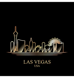 Gold silhouette of las vegas on black background vector