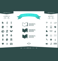 set of elegant logo with book symbol vector image