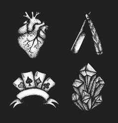vintage engraving set vector image