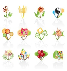 12 abstract flowers vector image